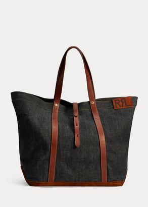 Ralph Lauren Leather-Trim Denim Tote