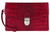 L.a.p.a. Cherry Croco-embossed Leather Clutch