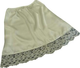 "Fdl Satin Slips Natural Ivory Shimmering Satin and lace Half Waist Slip Underskirt Petticoat Length 15"" (M fits Hip 36""-38"")"