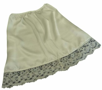 """Fdl Satin Slips Natural Ivory Shimmering Satin and lace Half Waist Slip Underskirt Petticoat Length 15"""" (XS fits Hip 32""""-34"""")"""