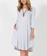 Gray Mist Three-Quarter Sleeve Side-Pocket Swing Tunic Dress