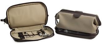 Bey-Berk 7-Piece Suede Toiletry Bag, Stainless Steel Manicure Grooming Set