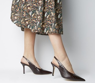 Office Minxy Slingback Heels Bordeaux Croc Leather