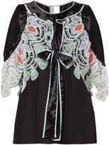 Peter Pilotto satin lace cold shoulder blouse