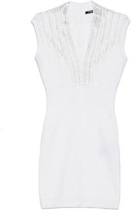 Balmain V-Neck Fitted Mini Dress
