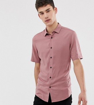 Asos Design DESIGN Tall muscle viscose shirt in pink