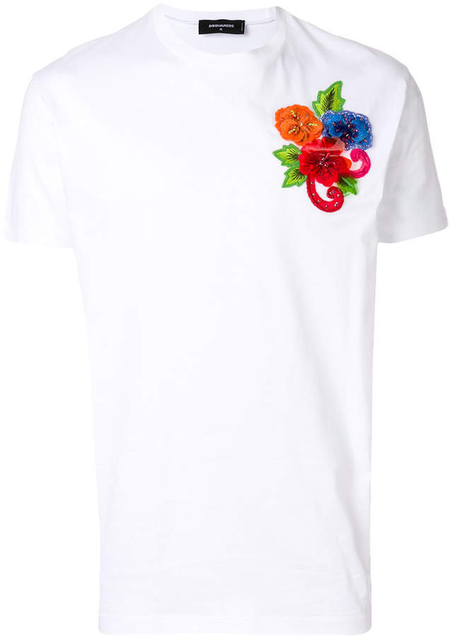 DSQUARED2 embroidered floral detail T-shirt