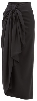 Edward Crutchley Stripe Sarong-style Wool Maxi Skirt - Womens - Black