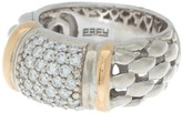 Effy Sterling Silver & 18K Yellow Gold Pave Diamond Woven Ring - Size 7 - 0.53 ctw