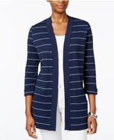 Karen Scott Petite Striped Open-Front Cardigan, Only at Macy's