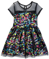 Betsey Johnson Printed Sateen & Glitter Mesh Dress (Big Girls)
