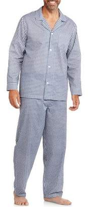 Fruit of the Loom Big & Tall Men's Long Sleeve, Long Pant Solid Pajama Set