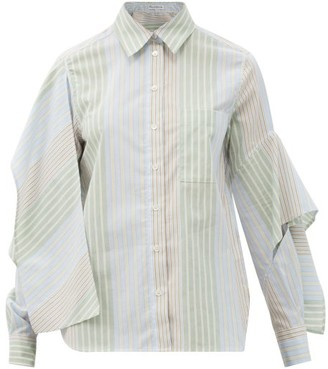 J.W.Anderson Draped-sleeve Striped Cotton-poplin Shirt - White Print