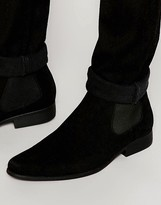 Asos Chelsea Boots in Black Faux Suede