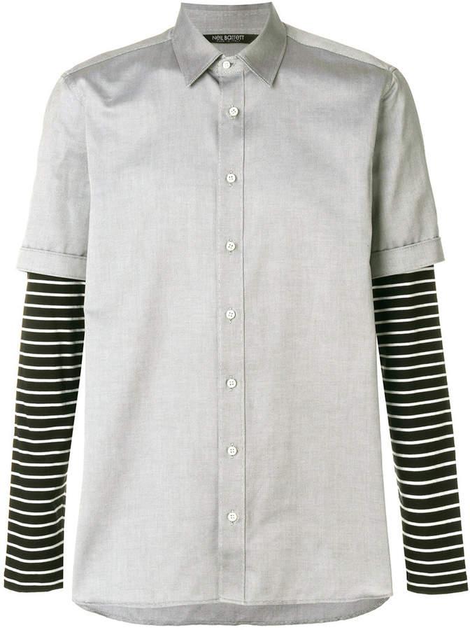 Neil Barrett striped sleeve layered shirt