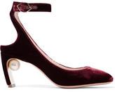 Nicholas Kirkwood Lola Embellished Velvet Pumps - Burgundy