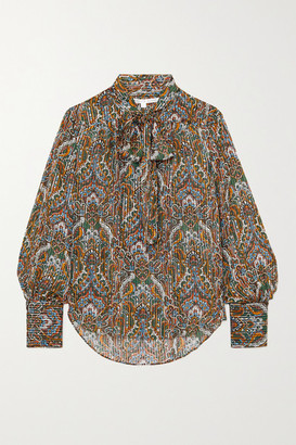 Veronica Beard Zaylee Pussy-bow Paisley-print Metallic Silk-blend Blouse - Green