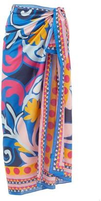La DoubleJ Leaves-print Cotton-blend Sarong - Blue Print