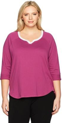 Karen Neuburger Plus Size Women's 3/4 Sleeve Top Pajama Shirt Pj