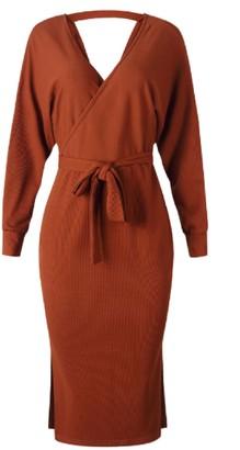 Goodnight Macaroon 'Mag' Slit Hem Wrap Dress (5 Colors)