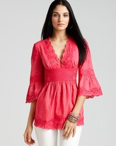 Catherine Malandrino Three-Quarter Sleeve Noelle Tunic with Embroidery