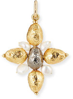 Grazia And Marica Vozza Yellow Golden Cross Nugget Charm with Pearls