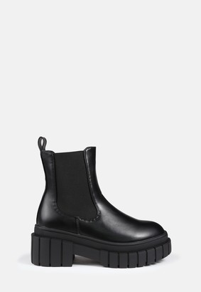 Missguided Black Chunky Sole Chelsea Boots