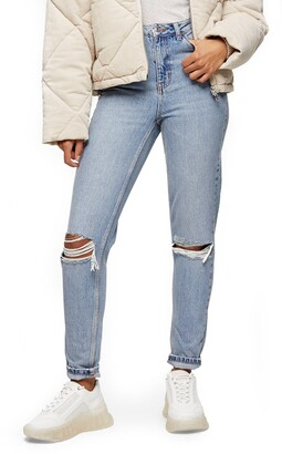 Topshop Double Ripped Mom Jeans
