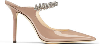 Jimmy Choo BING 100 Ballet Pink Patent Leather Mules with Crystal Strap