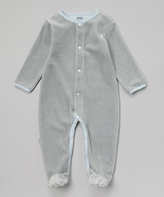 Kushies Blue Stripe Velour Footie - Infant