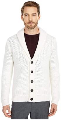 Eleventy Woven Shawl Collar Cardigan (Winter White) Men's Clothing