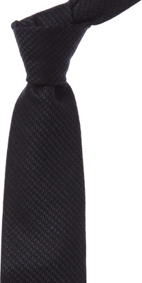 Tom Ford Navy & Black Stripe Silk & Wool-Blend Tie