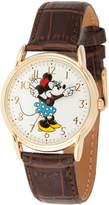 Disney Princess Disney Minnie Mouse Womens Brown Leather Strap Watch-Wds000411