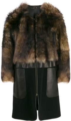 Giorgio Armani collarless sheepskin coat