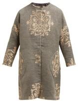 Märit Ilison - Reversible Single-breasted Floral-intarsia Coat - Womens - Grey Multi