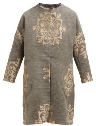 Märit Ilison - Reversible Single Breasted Floral Intarsia Coat - Womens - Grey Multi