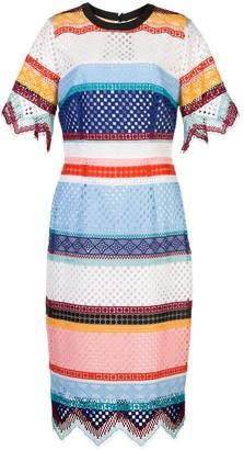Carolina Herrera Open Weave Striped Dress