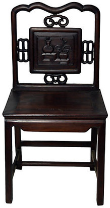 One Kings Lane Vintage Antique Carved Floral Medallion Chair - FEA Home
