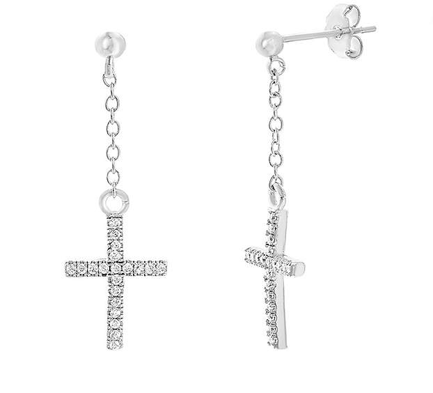 Bliss Silvertone & Cubic Zirconia Cross Stud Earring