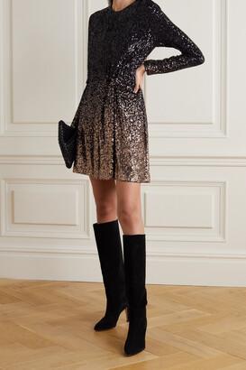 DIANE VON FURSTENBERG - Savanna Twist-front Sequined Jersey Mini Dress - Black