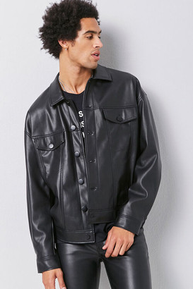 Forever 21 Faux Leather Button-Front Jacket