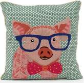 Karma Living Pig Emboidered Pillow