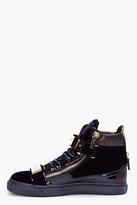 Giuseppe Zanotti Navy Velvet and Gold Sneakers