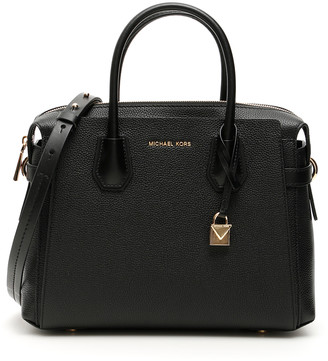 MICHAEL Michael Kors MERCER BOWLING BAG OS Black Leather