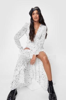 Nasty Gal Womens We've Came This Star Ruffle Midi Dress - Black - 4