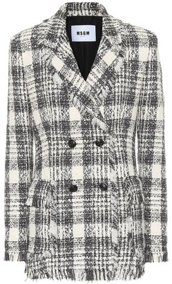 MSGM Plaid cotton-blend tweed blazer