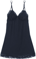 Eberjey Penelope Lace-trimmed Stretch-jersey Chemise - Midnight blue