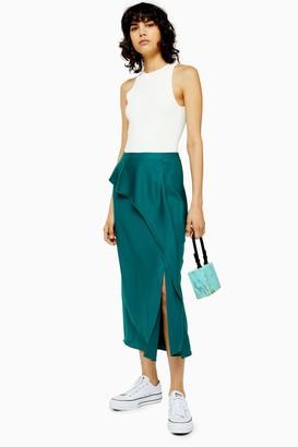 Topshop Womens Emerald Green Drape Satin Bias Midi Skirt - Dark Green