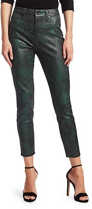7 For All Mankind Snake Print High-Rise Skinny Ankle Jeans