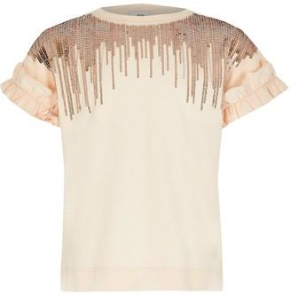River Island Girls Embellished Tassel T-shirt- Pink